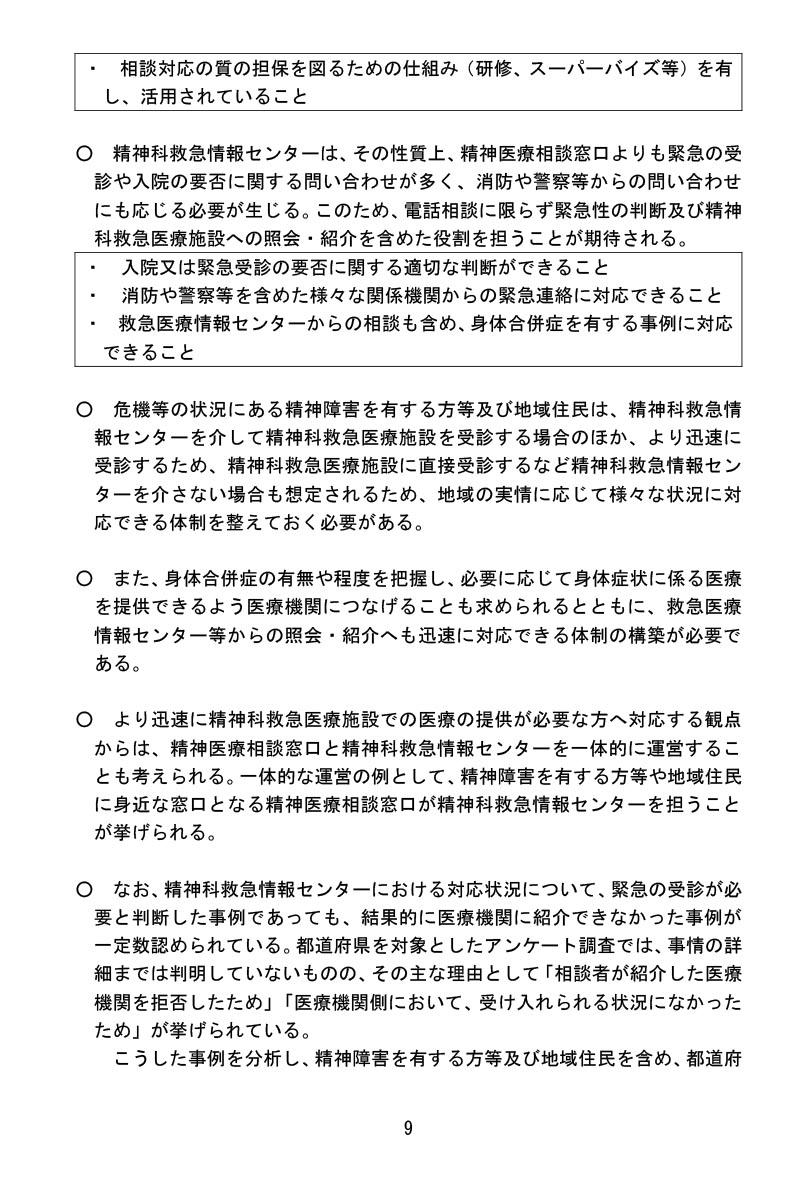 令和3年1月22日精神科救急医療体制整備に係ワーキンググループ報告書