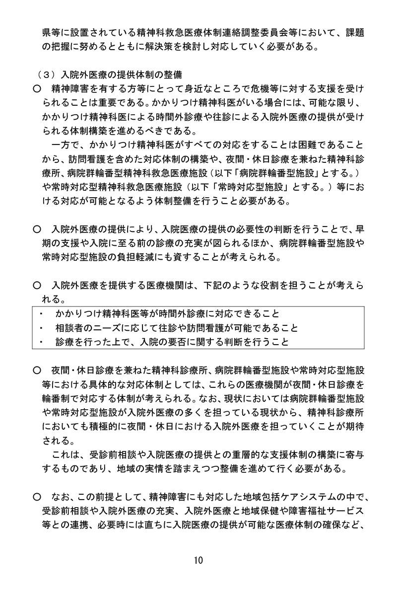 令和3年1月22日精神科救急医療体制整備に係るワーキンググループ報告書ー入院外医療の提供体制の整備