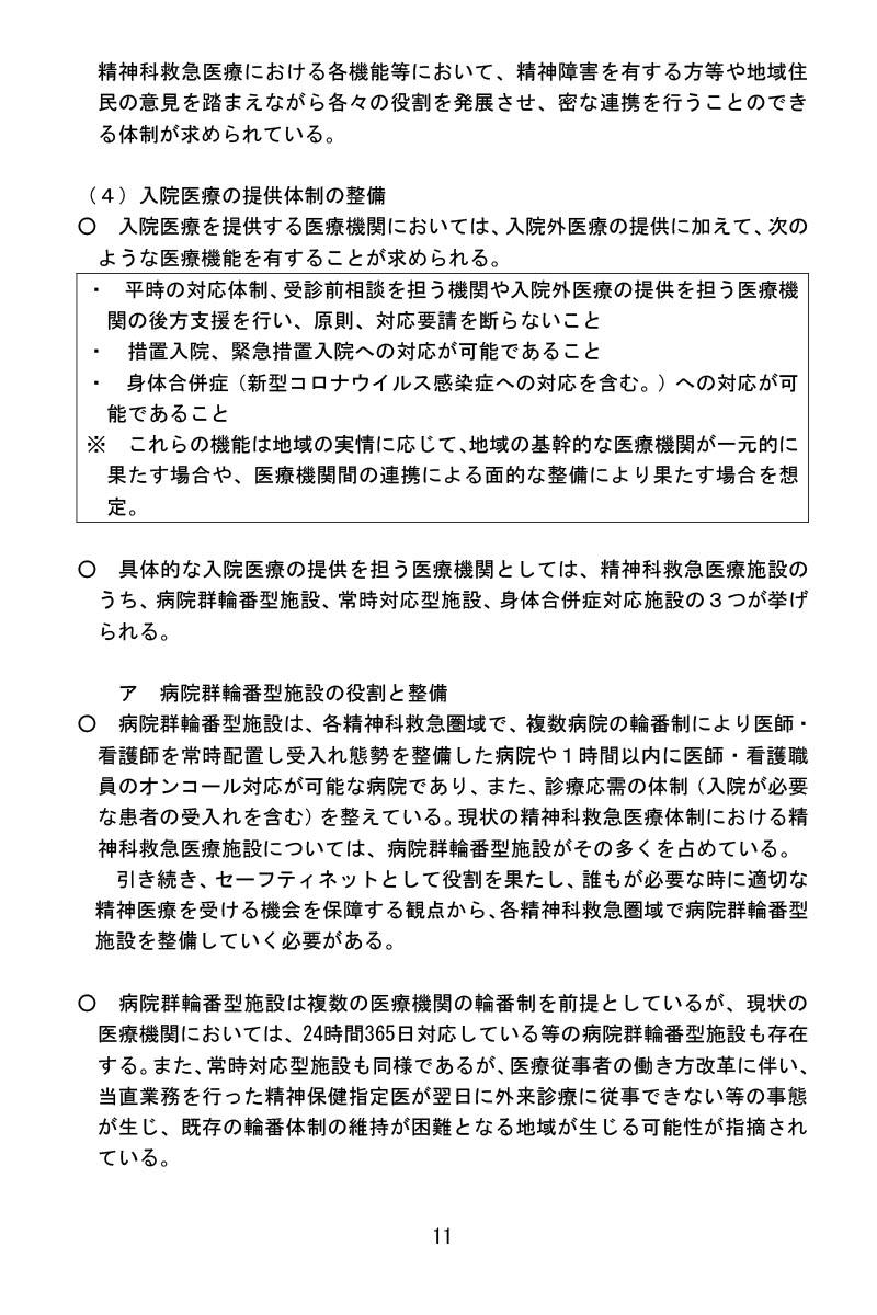 令和3年1月22日精神科救急医療体制整備に係るワーキンググループ報告書ー入院医療の提供体制の整備