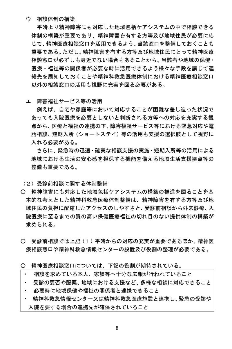 令和3年1月22日精神科救急医療体制整備に係るワーキンググループ報告書ー受診前相談に関する体制整備